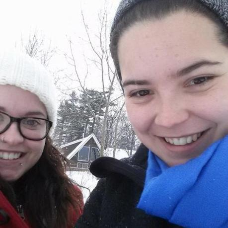 My girlfriend (the cute girl in this picture) is in the red jacket, I'm in the blue scarf.  Isn't she gorgeous?
